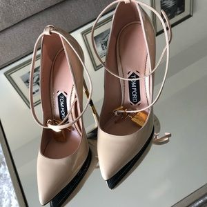 Nude pumps with gold and wrapping ankle detail